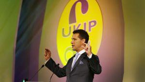 Steven Woolfe puhumassa UKIP-puolueen konferenssissa Doncasterissa syyskuussa 2014.