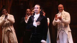 Lin-Manuel Miranda esiintyi Hamilton-musikaalissa Broadwayllä New Yorkin Richard Rodgers  -teatterissa 10. heinäkuuta 2016.
