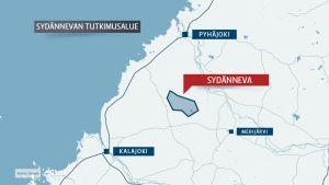 Sydännevan mahdollinen ydinjätteiden loppusijoituspaikka sijaitsee lähellä Merijärveä, Pyhäjokea ja Kalajokea.