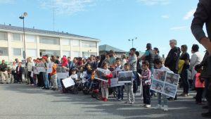 Mielenosoitus turvapaikkapolitiikkaa vastaan Kristiinankaupungissa.
