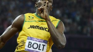 Usain Bolt Lontoon olympialaisissa.
