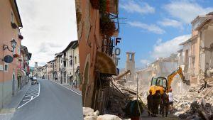 Näkymä Amatricen pääkadulle ennen ja jälkeen maanjäristyksen.