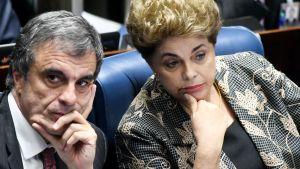 Rousseff ja hänen asianajajansa Jose Eduardo Cardozo senaatin kuulustelussa maanantaina 29. elokuuta.
