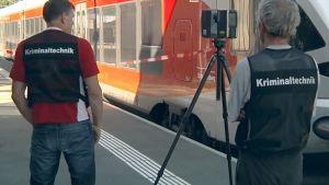Kaksi rikospaikkatutkijaa selkä kameraan päin, heidän edessään näky juna.