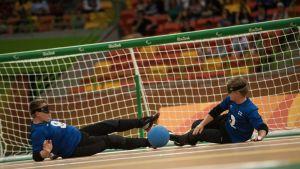 Suomen maalipallojoukkue Rion paralympialaisissa.