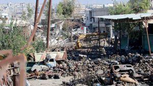 Tuhoutunut al-Ramousehin alue Aleppossa 9. syyskuuta.