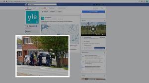 Yla Kajaanin Facebooki-sivut, kuvakaappaus, Yle Kajaanin Facebook-sivuille linkattiin sunnuntaina kuva Otanmäen pidätystilanteesta.
