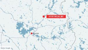 Karttakuva, jossa näkyy Hyrynsalmi ja Kajaani.