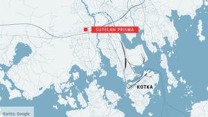 Kotkan kartta, jossa Sutelan Prisma.
