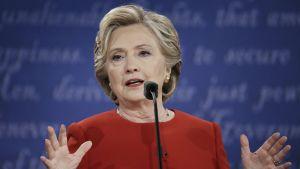 Hillary Clinton vaaliväittelyssä 27. syyskuuta.