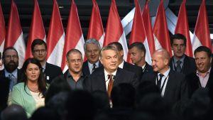 Useita miehiä puvut päällä ja yksi nainen seisovat lippujen edessä.