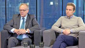 Lauri Ihalainen ja Petri Honkonen Yle Jyväskylän Nettistudiossa.