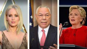 Jennifer Lawrence, Hillary Clinton ja Colin Powell.