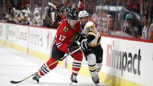 Chicagon Ville Pokka (nro 17) kamppailee Pittsburghin Jean-Sabastien Dean kanssa.