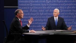 Republikaanien Mike Pence ja demokraattien Tim Kaine kohtasivat ainoassa tv-väittelyssään Longwoodin yliopistossa Virginiassa 4 lokakuu 2016.