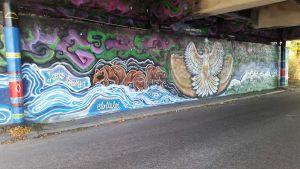 Garffiti maalaus Oulun Toivonimen sillan alla.