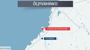 Pyhäjoen Hanhikivenniemen edustalla sattui öljyvahinko 6.10.2016.