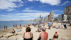 Näkymä Benidormin rannalle, Espanjassa.