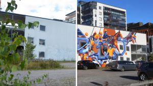 Kuvassa Lemminkäisenkadun parkkitalo Turussa ennen ja jälkeen seinämaalauksen.
