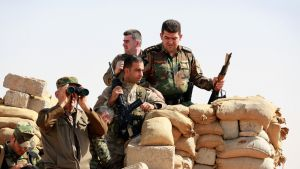 Kuusi sotilasta suojassa hiekkasäkkien takan. Yksi käyttää kiikarilla, kahdella aseet kädessä.