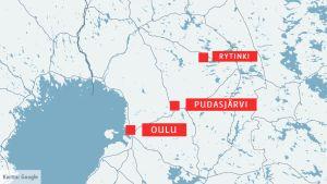 Kartta, johon on merkitty Oulu, Pudasjärvi ja Rytinki.