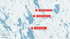 Kartta, johon on merkitty Kontiolahti ja Pukkikallio.