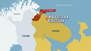 Kartta, jossa näkyy Murmanskin maakunnan sijainti Venäjällä sekä Murmanskin ja Severomorskin kaupungit että Petsamon piirin sijainti.