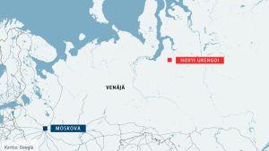Venäjän kartta, johon on sijoitettu Moskova ja Novyi Urengoi.