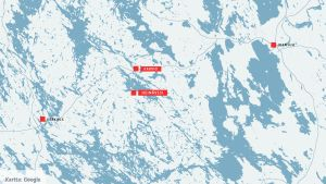 Kartta, johon on merkitty Heinävesi, Karvio, Varkaus ja Joensuu.