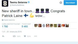 kuvakaappaus Teemu Selänteen Twitteristä