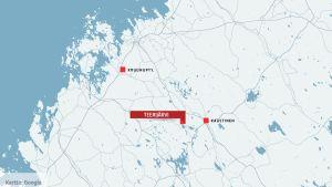 Kartta, johon on merkitty Teerijärvi, Kaustinen ja Kruunupyy.