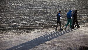 Pakolaiset kävelevät pois leiristä.