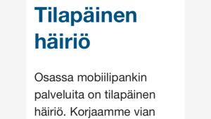 Tilapäinen häiriö Nordean mobiilipankissa.