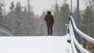 Nainen sauvakävelee lumipyryssä.