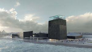 Havainnekuva Guggenheim Helsinki -arkkitehtuurikilpailun voittaneesta rakennuksesta.