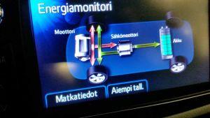 Hybridiauton ajotietokoneen näyttö.