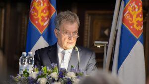 Valtakunnallisen maanpuolustuskurssin avajaiset. Kuvassa Tasavalla presidentti Sauli Niinistö.