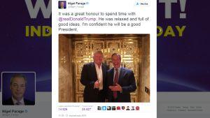 Kuvakaappaus Nigel Faragen Twitter-tililtä.