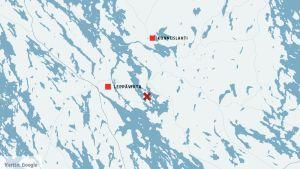 Kartta, johon merkitty Leppävirta ja Konnuslahti.