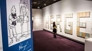 Hergen alkuperäisiä Tintti-piirroksia esillä Grand Palais'ssa Pariisissa.