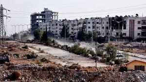 Raunioitunutta Aleppon esikaupunkialuetta