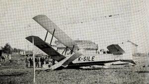 Mustavalkoisessa kuvassa Perhossa 1930 maahan rysähtänyt Kurki-lentokone