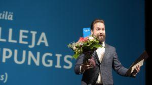 Jukka Viikilä Finlandia-palkintojen jakotilaisuudessa torstaina.