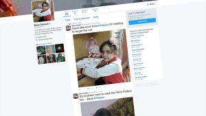 Kuvakaappaus Bana Alabedin Twitter-sivusta.