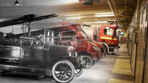 Käsitelty kuva, jossa yhdistetty vanha ja uusi valokuva Turun keskuspaloaseman autohallista.