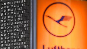 Kuvassa Lufthansan logo sekä peruttujen lentojen listaa 24.11. 2016