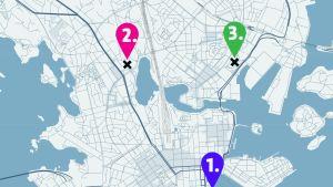 Helsingissä sijaitsevia parkkialueita.