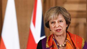 Pääministeri Theresa May lehdistötilaisuudessa virka-asunnollaan Lontoossa 28. marraskuuta 2016.