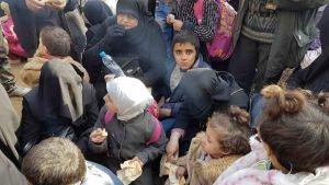 Ihmisiä joukossa, he haluavat pois Alepposta. Lapsi katsoo kameraan.