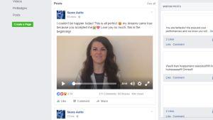 Saara Aalto kiitti äänestäjiään Facebook-videossa 12. joulukuuta.